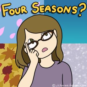 四季を表す背景の前に四季?と首を傾げる外国人