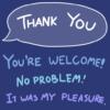 ありがとうの英語と、さまざまな返し方がポップに書かれた画像、たぶん
