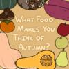 秋の野菜と果物に囲まれたタイトルの画像