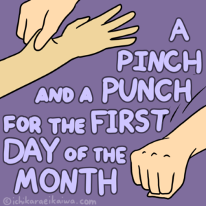 腕をつねっている手と、空気を殴っている手のイラスト