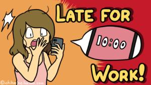 寝起き直後時間を見てビックリするヒカリノと、記事のタイトル