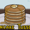 メープルシロップを垂らしたパンケーキ5枚重ねと、「Pancake Tuesday」という表記
