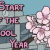 校舎の前で咲く桜とタイトルの「The Start of the School Year」