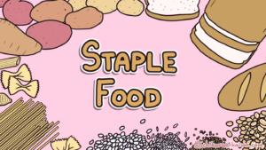 記事のタイトルを囲むさまざまな種類の主食