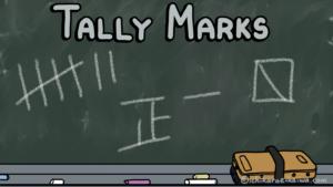 黒板に様々な画線法で書かれた数字(Tally Marks)