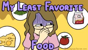 周りにあるチーズとグリーンピース、生クリーム、トマトに対して気持ち悪そうにしている女性