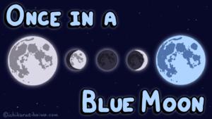 欠けて満ちて青くなる月と記事のタイトル「once in a blue moon」