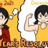 今年の新年の抱負を達成した自分を想像する女の子